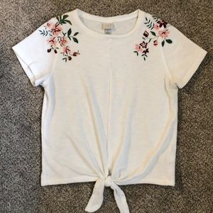 Tie front knit embroidered top